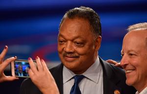The Reverend Jesse Jackson arrives for the third and final US presidential debate between Democratic nominee Hillary Clinton and Republican nominee Donald Trump at the Thomas & Mack Center on the campus of the University of Las Vegas in Las Vegas, Nevada on October 19, 2016. / AFP PHOTO / Paul J. RichardsPAUL J. RICHARDS/AFP/Getty Images