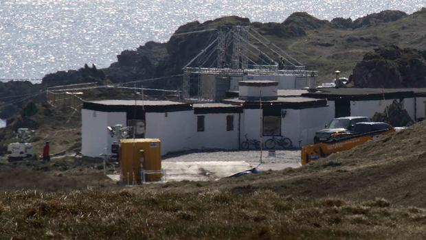 Millennium Falcon Base - scaffolding, fencing and crew buildings surrounding the Millennium Falcon at Malin Head. Picture James Whorriskey