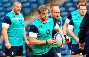 Ireland's flanker Jamie Heaslip (C) attends the captain's run training session at Murrayfield Stadium in Edinburgh, on February 3, 2017, on the eve of the Six Nations rugby union match between Scotland and Ireland.  / AFP PHOTO / Andy BuchananANDY BUCHANAN/AFP/Getty Images