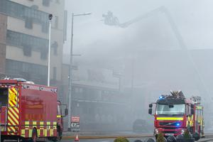 The scene at Queens Quay in Derry where a fire forced the closure of one of the busiest roads in the city. Picture Martin McKeown. Inpresspics.com. 11.03.15