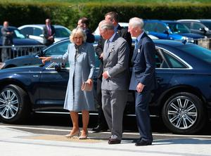 The Prince of Wales and Duchess of Cornwall arriving for a tour of the new centre in Bellaghy, dedicated to poet Seamus Heaney during their visit to Northern Ireland.  Liam McBurney/PA Wire
