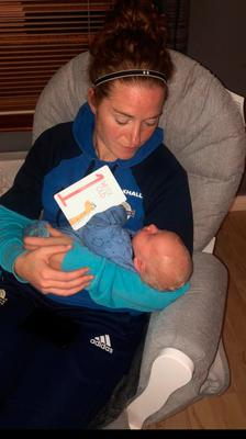 Marissa Callaghan with four-month old baby Quinn.