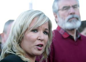 Sinn Fein's leadership team , Michelle O'Neill and Gerry Adams speak to the media during a press conference on the Falls road in West Belfast. Photo by Peter Morrison / PressEye