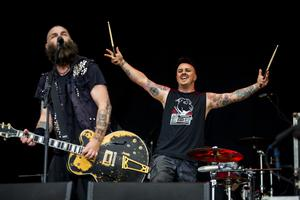 Rancid frontman Tim Armstrong and drummer Branden Steineckert onstage at the Ormeau Embankment, Belfast as support for Green Day. Wednesday 28th June 2017 Liam McBurney/RAZORPIX