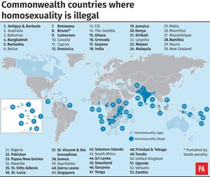 Commonwealth countries where homosexuality is illegal (PA Graphics)