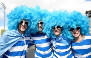 An Argentina fan poses for a photograph as they arrive at the Kingsholm stadium ahead of the a Pool C match of the 2015 Rugby World Cup between Argentina and Georgia in Gloucester, west England on September 25, 2015. AFP/Getty Images