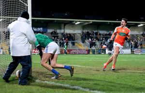 Campbell scores a penalty against Cavan in January.