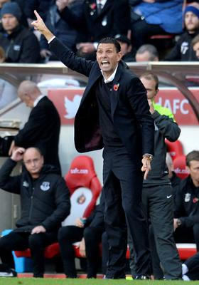 Sunderland manager Gustavo Poyet on the touchline during the Barclays Premier League match at the Stadium of Light, Sunderland. Owen Humphreys/PA Wire.