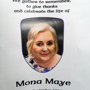 The Order of Service for Mona Maye.