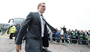 Brendan Rodgers manager  of Celtic arrives early at Celtic Park before the UEFA Champions League, Third Round, Second Leg between Celtic and Astana at Celtic Park on August 3, 2016 in Glasgow, Scotland. (Photo by Steve Welsh/Getty Images)
