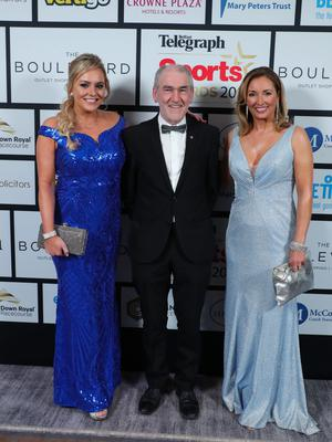 Press Eye - Belfast - Northern Ireland - 20th January  2020   Ruth Gorman, Mickey Harte and Claire McCollum pictured at the 2019 Belfast Telegraph Sport Awards at the Crowne Plaza Hotel in Belfast.  Photo by Kelvin Boyes / Press Eye.