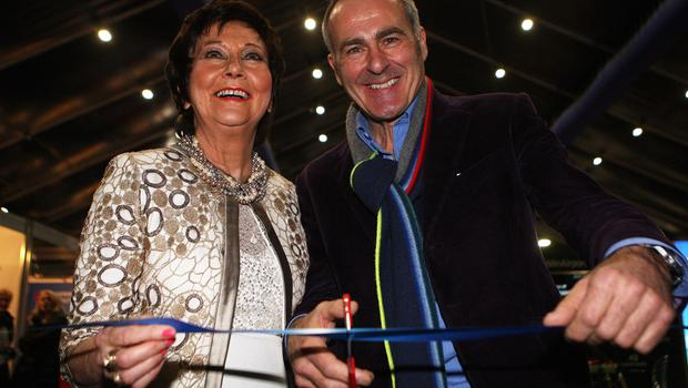 Belfast Telegraph Holiday World Show, Titanic Exhibition Centre, Belfast. Maureen Ledwith Director of Holiday World and Paul Martin of Flog It cut the tape to open the 2019 show. Picture by Freddie Parkinson ©