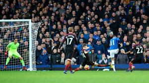 "Everton's Kevin Mirallas scores his side's second goal during the Premier League match at Goodison Park, Liverpool. PRESS ASSOCIATION Photo. Picture date: Sunday January 15, 2017. See PA story SOCCER Everton. Photo credit should read: Peter Byrne/PA Wire. RESTRICTIONS: EDITORIAL USE ONLY No use with unauthorised audio, video, data, fixture lists, club/league logos or ""live"" services. Online in-match use limited to 75 images, no video emulation. No use in betting, games or single club/league/player publications."