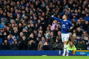 "Everton's Kevin Mirallas celebrates scoring his side's second goal during the Premier League match at Goodison Park, Liverpool. PRESS ASSOCIATION Photo. Picture date: Sunday January 15, 2017. See PA story SOCCER Everton. Photo credit should read: Peter Byrne/PA Wire. RESTRICTIONS: EDITORIAL USE ONLY No use with unauthorised audio, video, data, fixture lists, club/league logos or ""live"" services. Online in-match use limited to 75 images, no video emulation. No use in betting, games or single club/league/player publications."