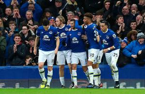"Everton's Kevin Mirallas (centre) celebrates scoring his side's second goal during the Premier League match at Goodison Park, Liverpool. PRESS ASSOCIATION Photo. Picture date: Sunday January 15, 2017. See PA story SOCCER Everton. Photo credit should read: Peter Byrne/PA Wire. RESTRICTIONS: EDITORIAL USE ONLY No use with unauthorised audio, video, data, fixture lists, club/league logos or ""live"" services. Online in-match use limited to 75 images, no video emulation. No use in betting, games or single club/league/player publications."