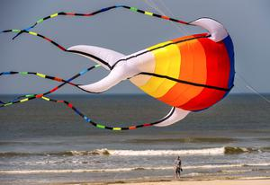 "A man looks up at a giant kite flying above the beach in Berck, northern France, on April 20, 2015, during the 29th ""Rencontres Internationales de Cerfs Volants"" (International Kite Meeting) which runs from April 18 to 26. AFP/Getty Images"