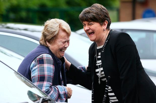 Arlene Foster, Leader of the Democratic Unionist Party, leaving Brookeborough Primary School, Co Fermanagh, having cast her vote in the 2017 General Election. Brian Lawless/PA Wire