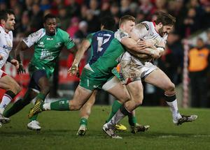 Ulster  Stuart McCloskey    and Connacht  Peter Robb    during Friday night's Guinness PRO 12 match at the Kingspan Stadium, Ravenhill Park. Picture by Brian Little/Presseye