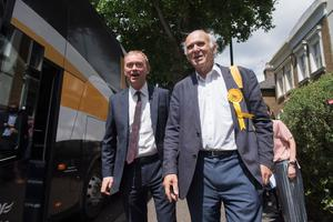 Liberal Democrats leader Tim Farron and Vince Cable, local candidate for Twickenham, visit in Twickenham during the final day of the General Election campaign trail. PRESS ASSOCIATION Photo. Picture date: Wednesday June 7, 2017. See PA ELECTION stories. Photo credit should read: Victoria Jones/PA Wire