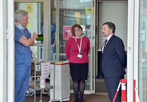 Health Minister Robin Swann is shown around the covid-19 centre at Altnagelvin Hospital in Londonderry by Dr Tom Black on Wednesday, March 25th Photo by Simon Graham Photography
