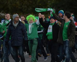 PACEMAKER BELFAST   11/10/2015 Northern Ireland v Finland    Euro 2016 Qualifier Group    Group F Northern Ireland Fans  during this evenings game at The Olympic Stadium in Helsinki. Photo Colm Lenaghan/Pacemaker Press