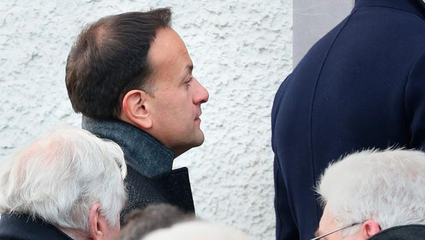 Taoiseach Leo Varadkar attends the funeral of Seamus Mallon, the former deputy first minister of Northern Ireland, at Saint James of Jerusalem Church in Mullaghbrack, Co Armagh. PA Photo. Picture date: Monday January 27, 2020. See PA story FUNERAL Mallon. Photo credit should read: Liam McBurney/PA Wire