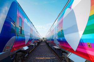 Translink has given two trains very special makeovers in support of the #ChaseTheRainbow movement