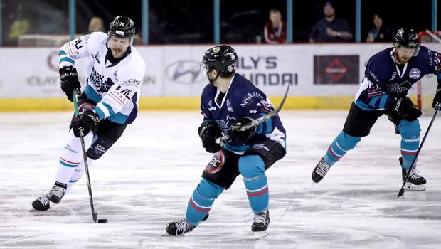 Belfast Giants' Curtis Hamilton and Ryan Lowney during Mark Garside's Testimonial at the SSE Arena (William Cherry/PressEye)