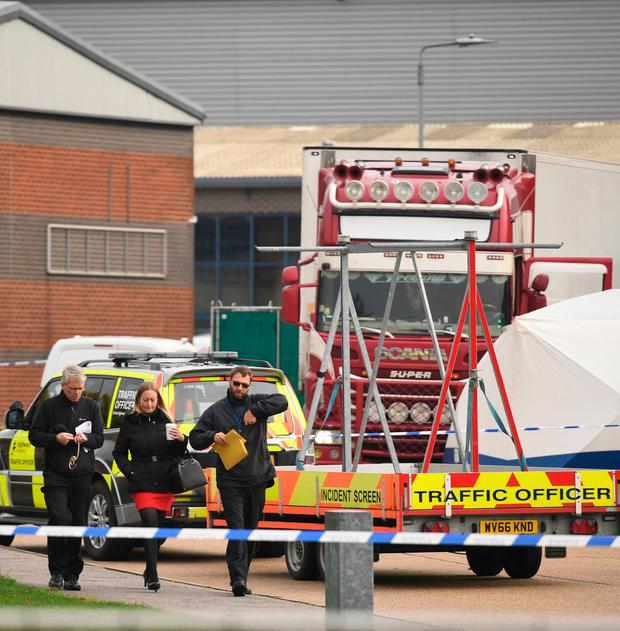 Police activity at the Waterglade Industrial Park in Grays, Essex, after 39 bodies were found inside a lorry container on the industrial estate. Photo credit should read: Stefan Rousseau/PA Wire