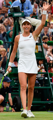 Johanna Konta reacts after beating Simona Halep during yesterday's women's singles quarter-final match