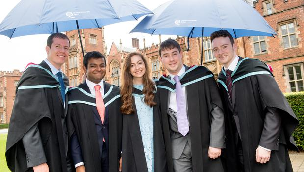 Pictured celebrating graduation success are (L-R) Thomas Bach, Melvin Babu, Clare Burnett, Stuart Anderson and Clive Acheson, who all graduated with First Class Honours from the School of Mechanical and Aerospace Engineering at Queen's University Belfast.