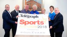 Judgment day: (from left) Chris Nelmes, centre manager of main sponsor Boulevard, Banbridge, Sean O'Neill, Belfast Telegraph Sports Editor Jim Gracey, Dame Mary Peters, Eilish Rutherford, Angela Platt and Peter McCabe
