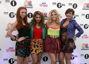 The Saturdays backstage at Radio One's Big Weekend, at Ebrington Square in Londonderry. PRESS ASSOCIATION Photo. Picture date: Saturday May 25, 2013. Photo credit should read: Niall Carson/PA Wire