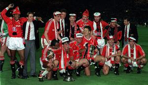 File photo dated 17/05/1990 of The Manchester United team after winning the FA Cup at Wembley. United beat Crystal Palace 1-0. PRESS ASSOCITAION Photo. Issue date: Wednesday May 8, 2013. Sir Alex Ferguson will retire at the end of this season, Manchester United have announced. See PA Story SOCCER Man Utd. Photo credit should read: PA Wire.