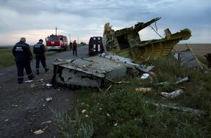 Ukrainian rescuers walk past debris at the crash site of a passenger plane near the village of Grabovo, Ukraine, Thursday, July 17, 2014. Ukraine said a passenger plane carrying 295 people was shot down Thursday as it flew over the country, and both the government and the pro-Russia separatists fighting in the region denied any responsibility for downing the plane. (AP Photo/Dmitry Lovetsky)