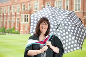 Practising what she preaches: Lynne Spence from Bangor is graduating from Queen's with a MSSc in Organisation and Management. Lynne works in the School of Psychology at Queen's.