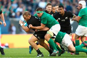 CHICAGO, IL - NOVEMBER 05:  Owen Franks of the New Zealand All Blacks  is tackled by CJ Stander of Ireland during the international match between Ireland and New Zealand at Soldier Field on November 5, 2016 in Chicago, United States.  (Photo by Phil Walter/Getty Images)