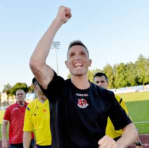Big stage: Crusaders manager Stephen Baxter celebrates his side's win over FK Ekranas of Lithuania in 2014. Photo: Stephen Hamilton/Presseye