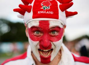 England fan Oliver Pearson at the Fanzone in Old Deer Park in Richmond, London. PRESS ASSOCIATION Photo. Picture date: Saturday September 26, 2015. See PA story RUGBYU England. Photo credit should read: Yui Mok/PA Wire