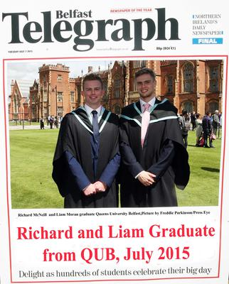 Mandatory Credit - Picture by Freddie Parkinson/Press Eye ? Tuesday 7th July 2015 Graduations Queen University Belfast. Richard McNeill from Ballymena and Liam Moran from Carryduff graduate in Queen University Belfast with Accountancy.