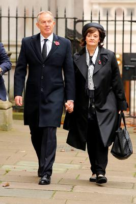 Former Prime Minister Tony Blair and his wife Cherie walk through Downing Street on their way to the annual Remembrance Sunday service at the Cenotaph memorial in Whitehall. Chris Radburn/PA Wire.