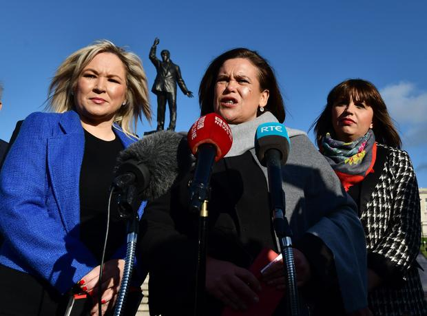 Sinn Fein leaders Mary Lou McDonald and Michelle O'Neill speak to the media as they meet with PM Theresa May during her visit to Northern Ireland. Photo Colm Lenaghan/Pacemaker Press