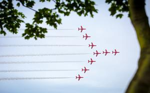 The RAF Red Arrows at the Air Waves Portrush, Northern Ireland International Airshow ( Photo by Kevin Scott / Presseye )