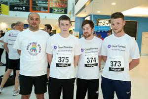 Press Eye - Belfast -  Northern Ireland - 24th June 2015 -  Gary McAllister, nathan Marcus, Marty McGinnis and Jordon Hegarty from Pollock Lifts from at the first ever Grant Thornton Runway Run at Belfast City Airport this evening. Picture by Kelvin Boyes / Press Eye.