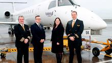 Eastern Airways launches route from George Best Belfast City Airport to Teesside International Airport. Eastern Airways Captain, Leigh Kelly, First Officer, Tom Tansey, and Cabin Crew, Lewis Evans, welcomed by Ellie McGimpsey, Aviation Development Manager, at George Best Belfast City Airport.