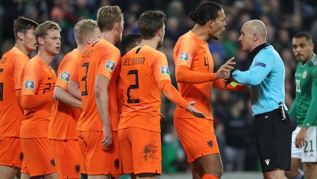 "Pacemaker - Belfast -  -16/11/2019.         Northern Ireland v Holland Euro 2020 Qualifier Windsor Park Belfast   Netherland's Virgil van Dijk contests the ref  penalty decision    In tonight""s game At Windsor Park                                               Photo Desmond Loughery/Pacemaker Press"