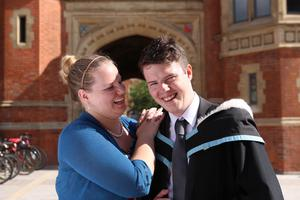 Pictured at today's graduation ceremony at Queen's University Belfast are John McCaul with his fianc?e, Ashlyn Neas. John is graduating with a degree in Modern History and Politics, from the School of History and Anthropology.
