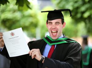 Graduating from Ulster University today is Johnny Graham from Glengormley with a degree in BSC Sports & Exercise Pic by Paul Moane / Aurora PA