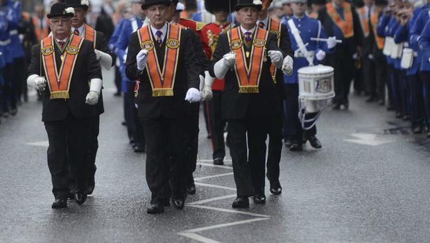 PACEMAKER BELFAST  13/07/2015 Orange Men  during  The 12th of July Parades Belfast City on Monday  to commemorate protestant King William of Orange's victory over Catholic King James II at the Battle of the Boyne in 1690. Photo Colm Lenaghan/Pacemaker Press
