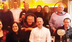 Conor Murphy with Frank McCabe at Christmas party (McCabe in light blue shirt top right)